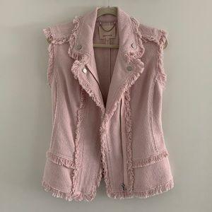 Rebecca Taylor Sheer Pink Slub Tweed Vest